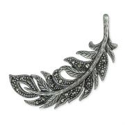 Sterling Silver Marcasite Feather Brooch